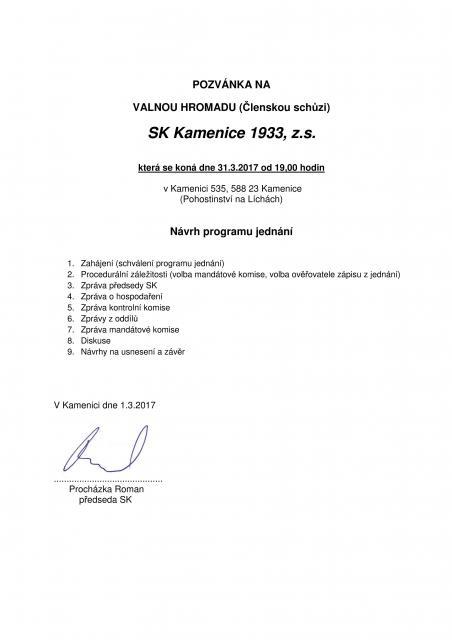 Pozvánka na VH SK Kamenice 1933, z.s.